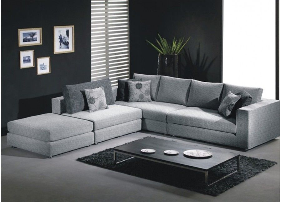 Silver Color Fabric Sectional Sofa Living Room