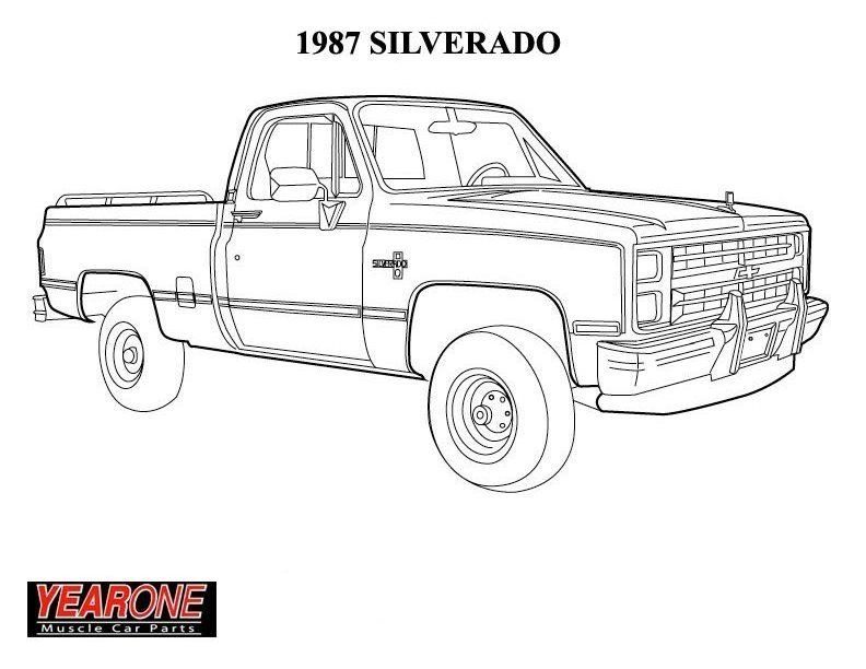 1987 Silverado Truck Coloring Pages Chevy Trucks Coloring
