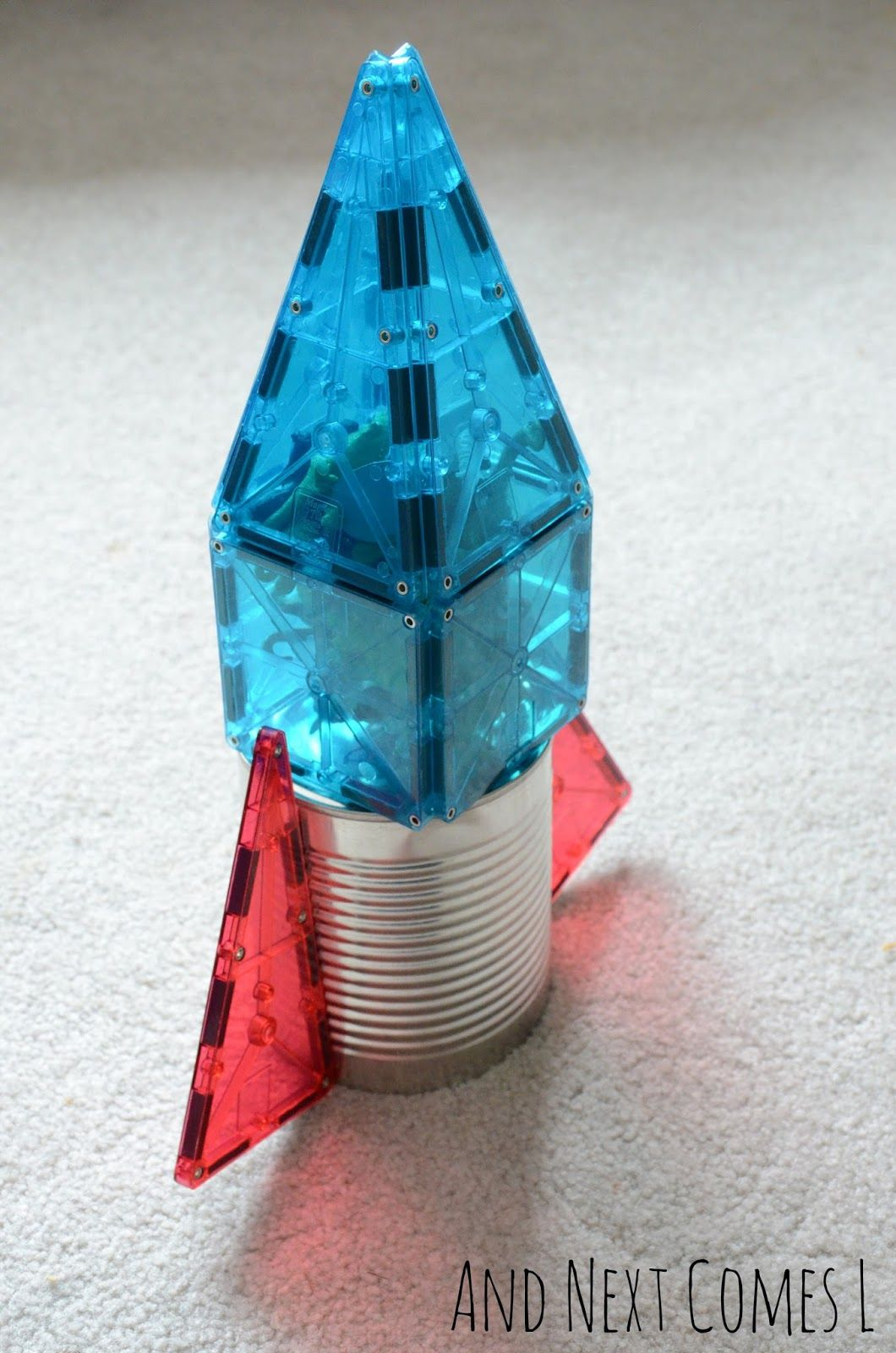 A Rocket Made From Tin Can And Magna Tiles Next Comes L