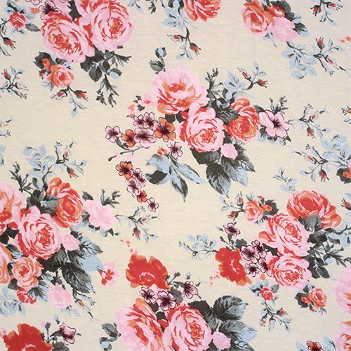 Vintage Roses On Ivory Cotton Jersey Blend Knit Fabric Vintage Roses Floral Printables Fabric