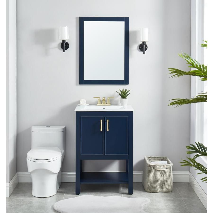 allen + roth Presnell 24in Navy Blue Single Sink Bathroom