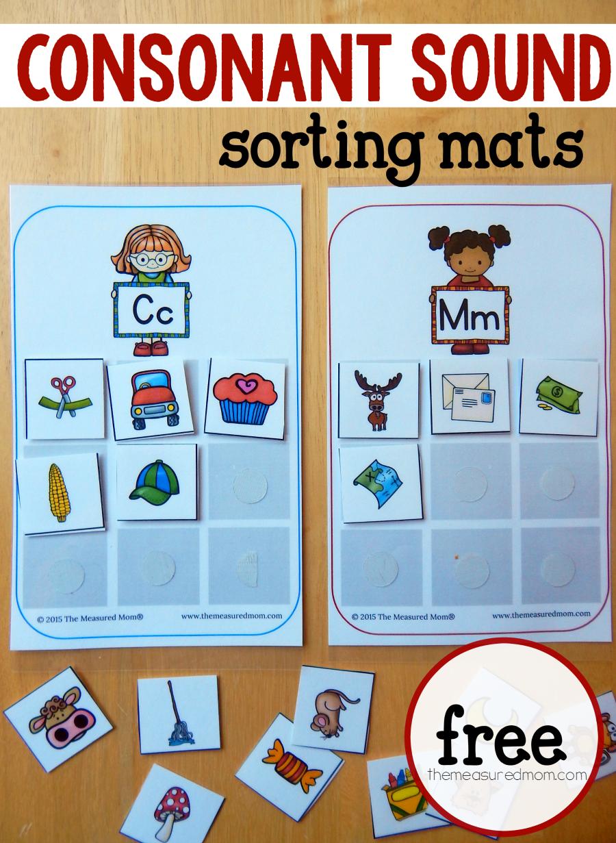 Consonant Sounds Sorting Mats The Measured Mom Phonics Kindergarten Alphabet Preschool Kindergarten Language Arts [ 1231 x 900 Pixel ]