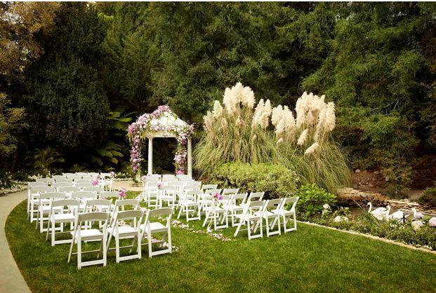 Intimate Wedding Reception On Swan Lake Hotel Bel Air Flowersandgardens