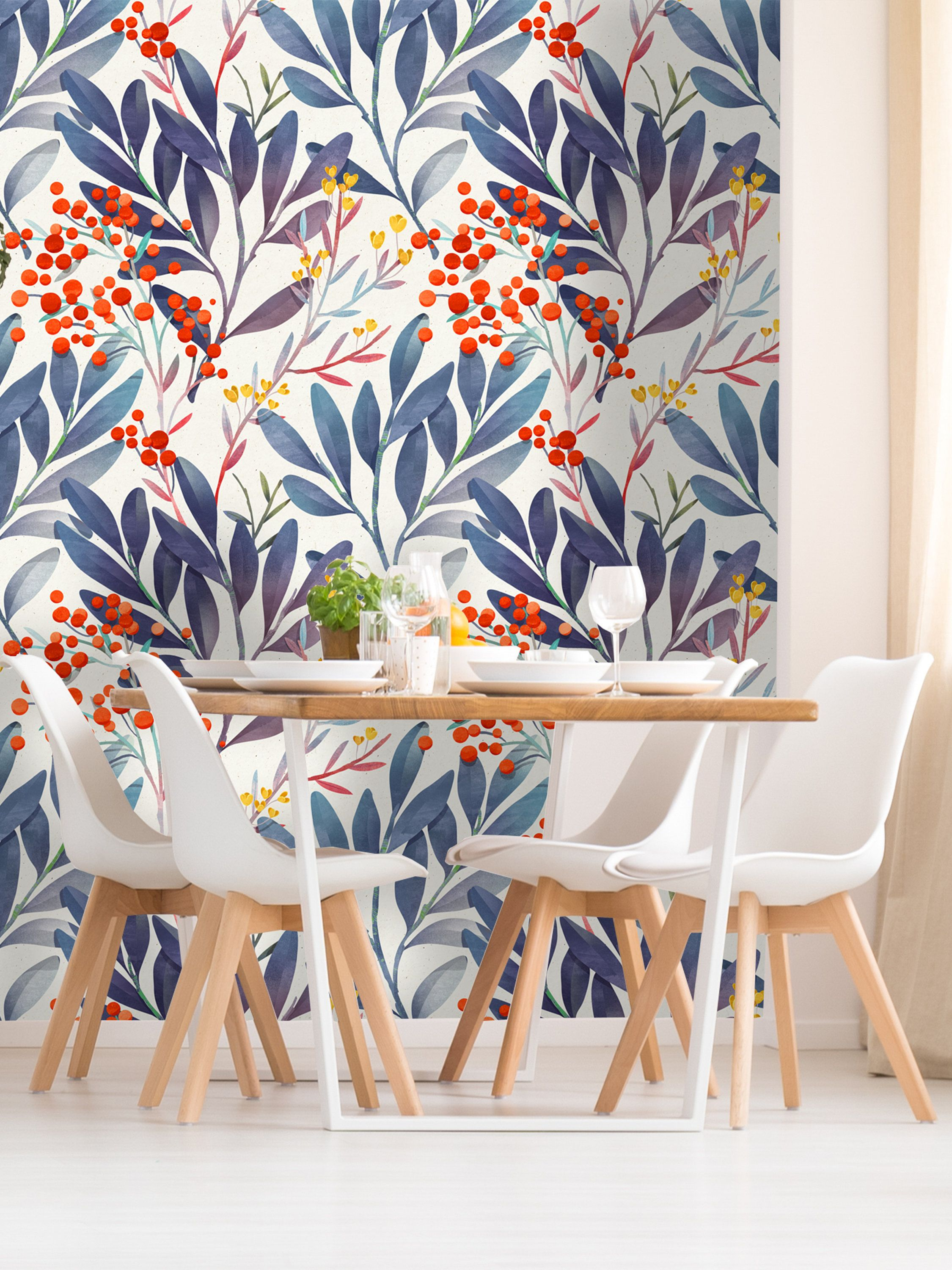 Removable Wallpaper Self Adhesive Wallpaper Wild Berries And Leaves Peel Stick Wallpaper In 2019 Home Decor Self Adhesive Wallpaper Peel Stick Wallpaper