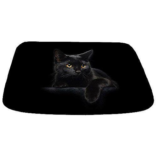 CafePress - Black Cat - Decorative Bathmat, Memory Foam Bath Rug - halloween bathroom sets