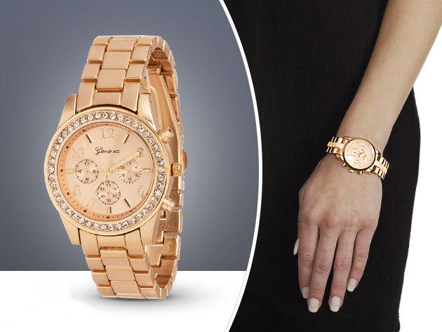 Geneva Köves Chrono Style Rose Gold Színű Női karóra  24884d060e
