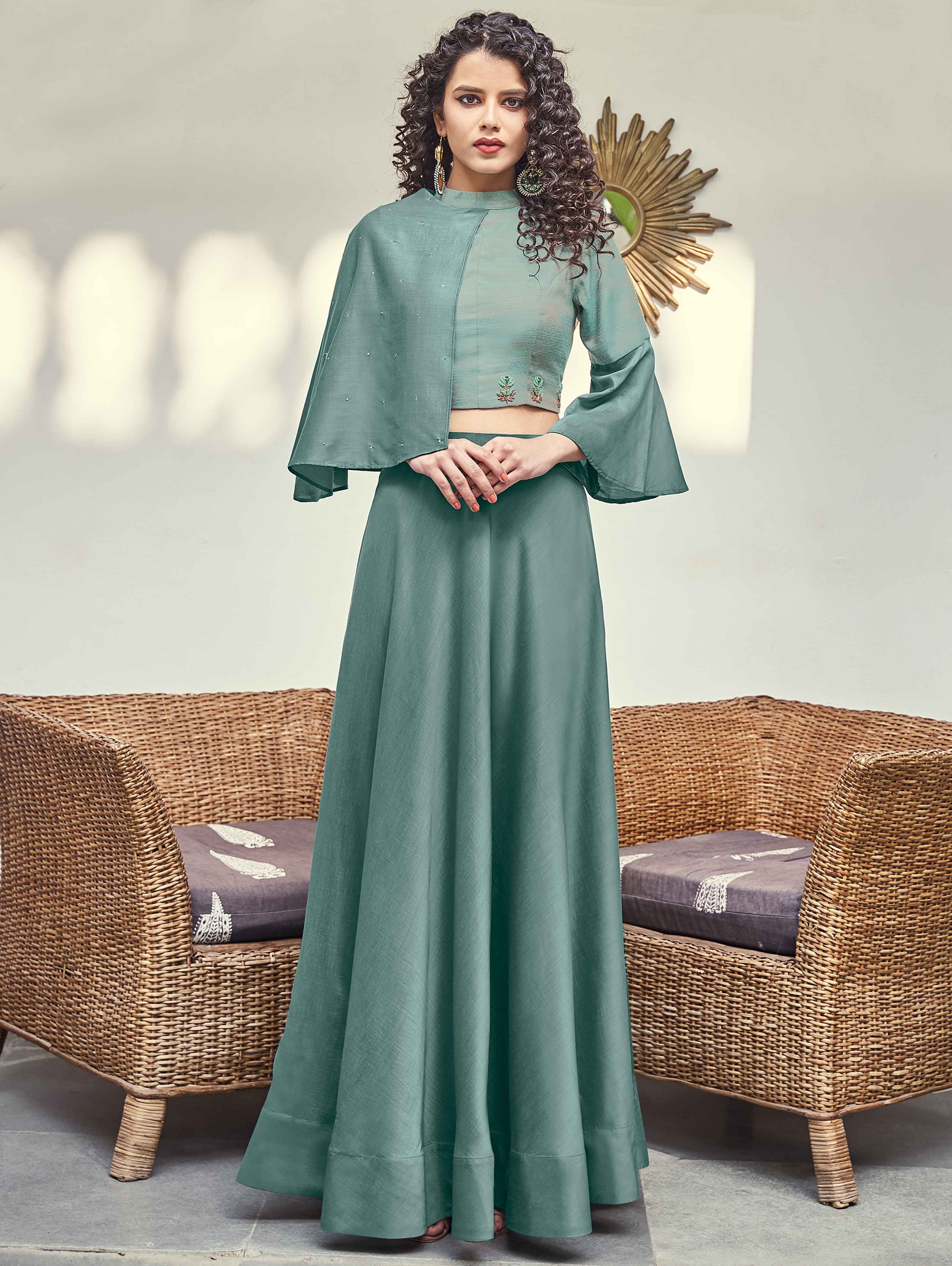 Sage Green Satin Silk Plain Skirt with Fancy Bell Sleeved