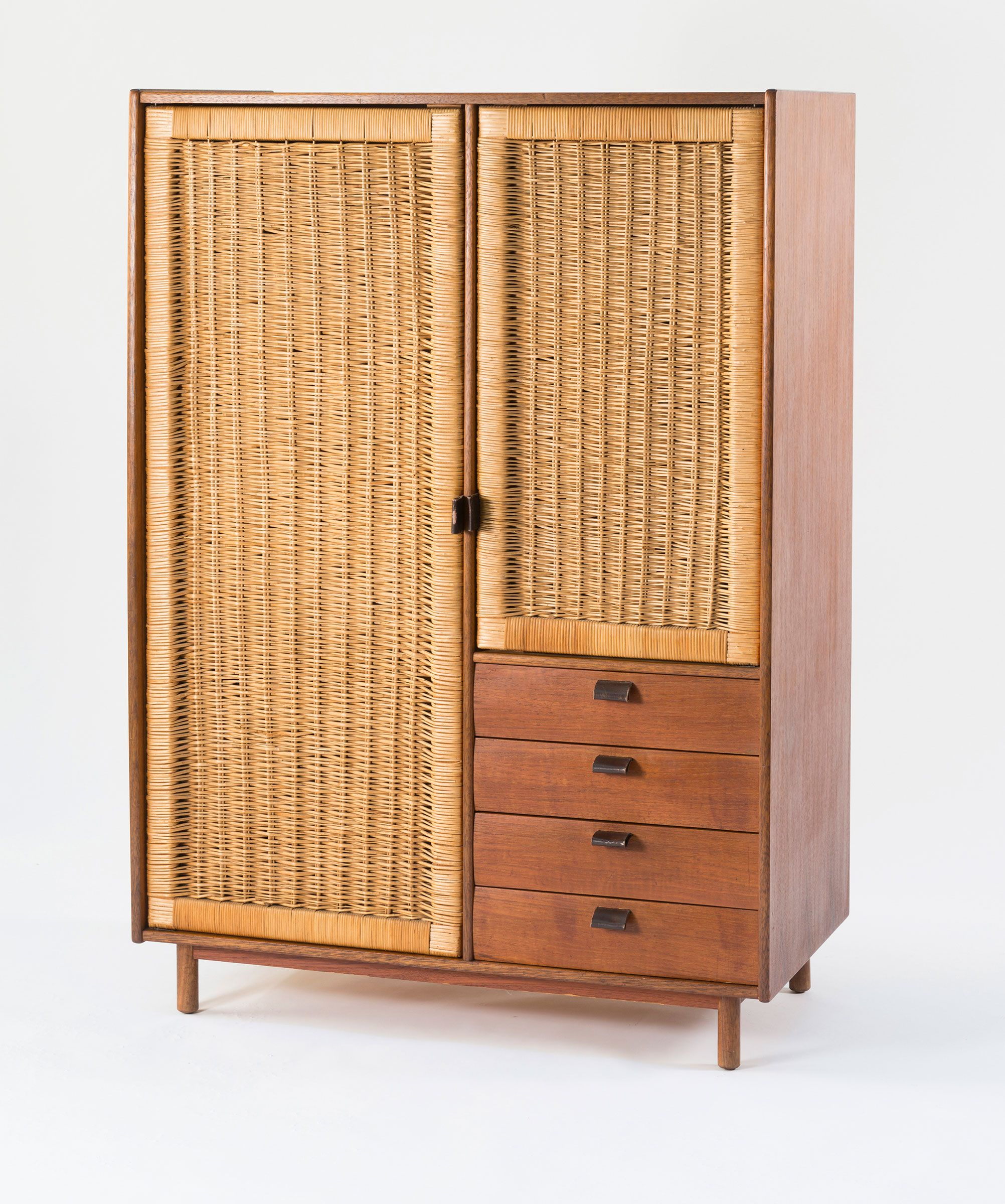 Sebastian Muggenthaler Teak And Rattan Wardrobe 1960s Einrichtungsstil Haus Deko Mobeldesign