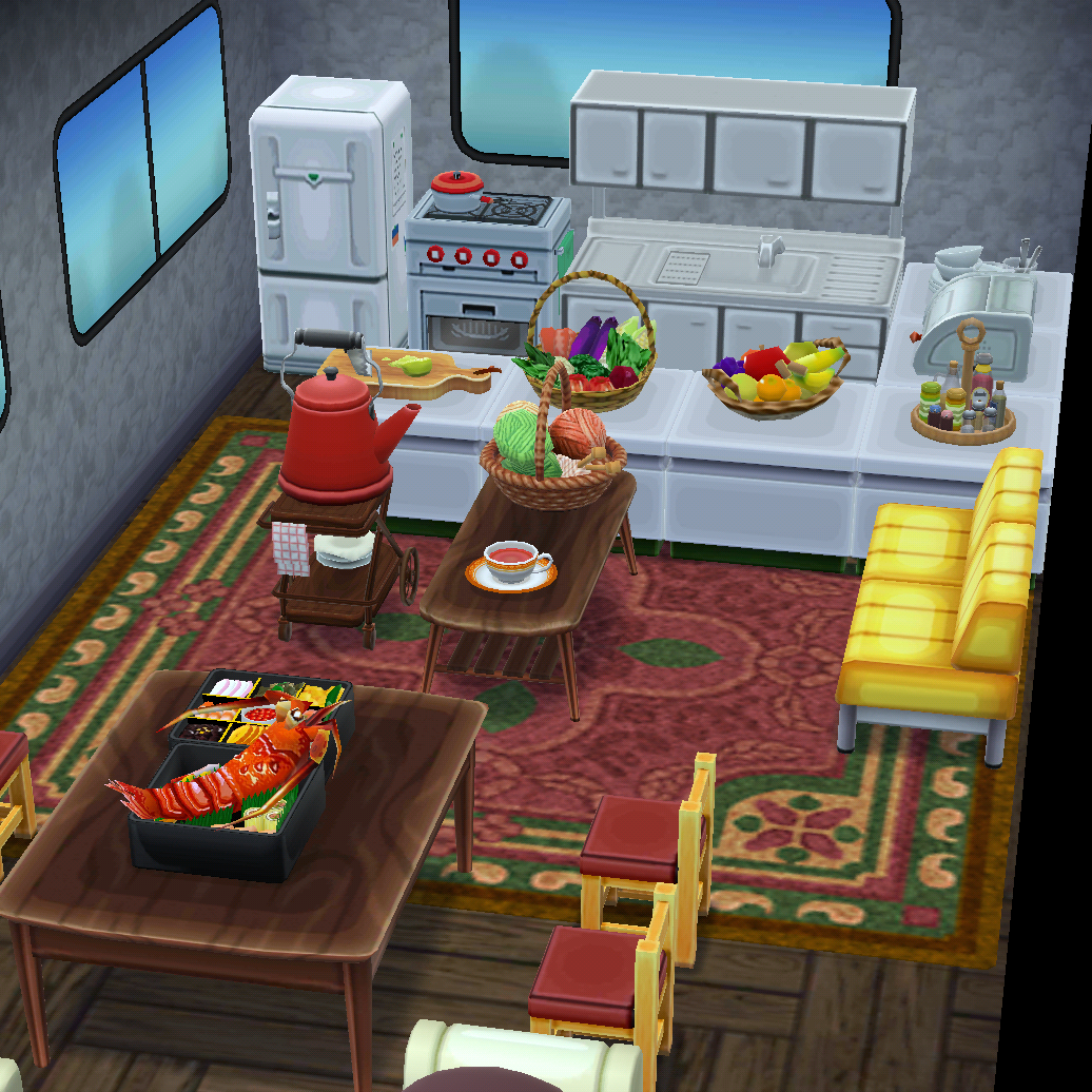 My cozy camper kitchen and dining area   Animal crossing ... on Animal Crossing Kitchen Ideas  id=45539