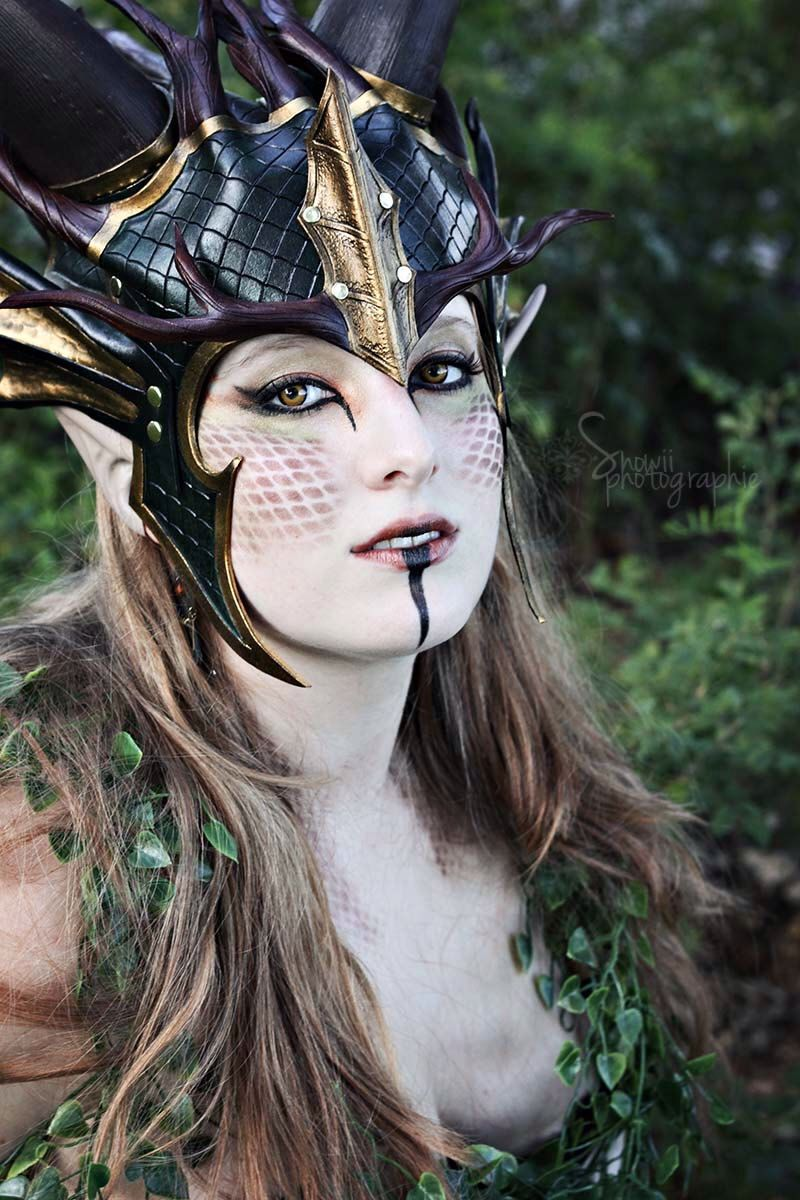 Forest dragon queen crown larp leather green gold fantasy