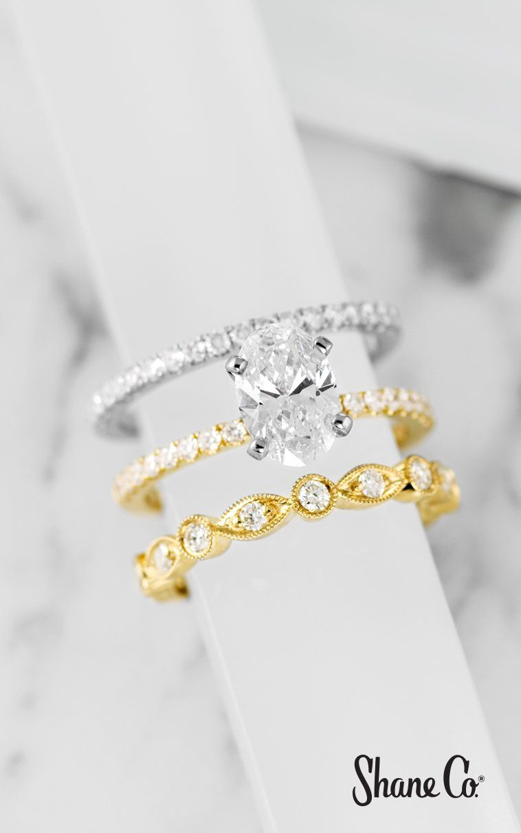Add To Your Wedding Set With Multiple Sparkling Wedding Bands This Is The Perfect Way To Wear Different Sty Beautiful Wedding Bands Wedding Bands Wedding Sets