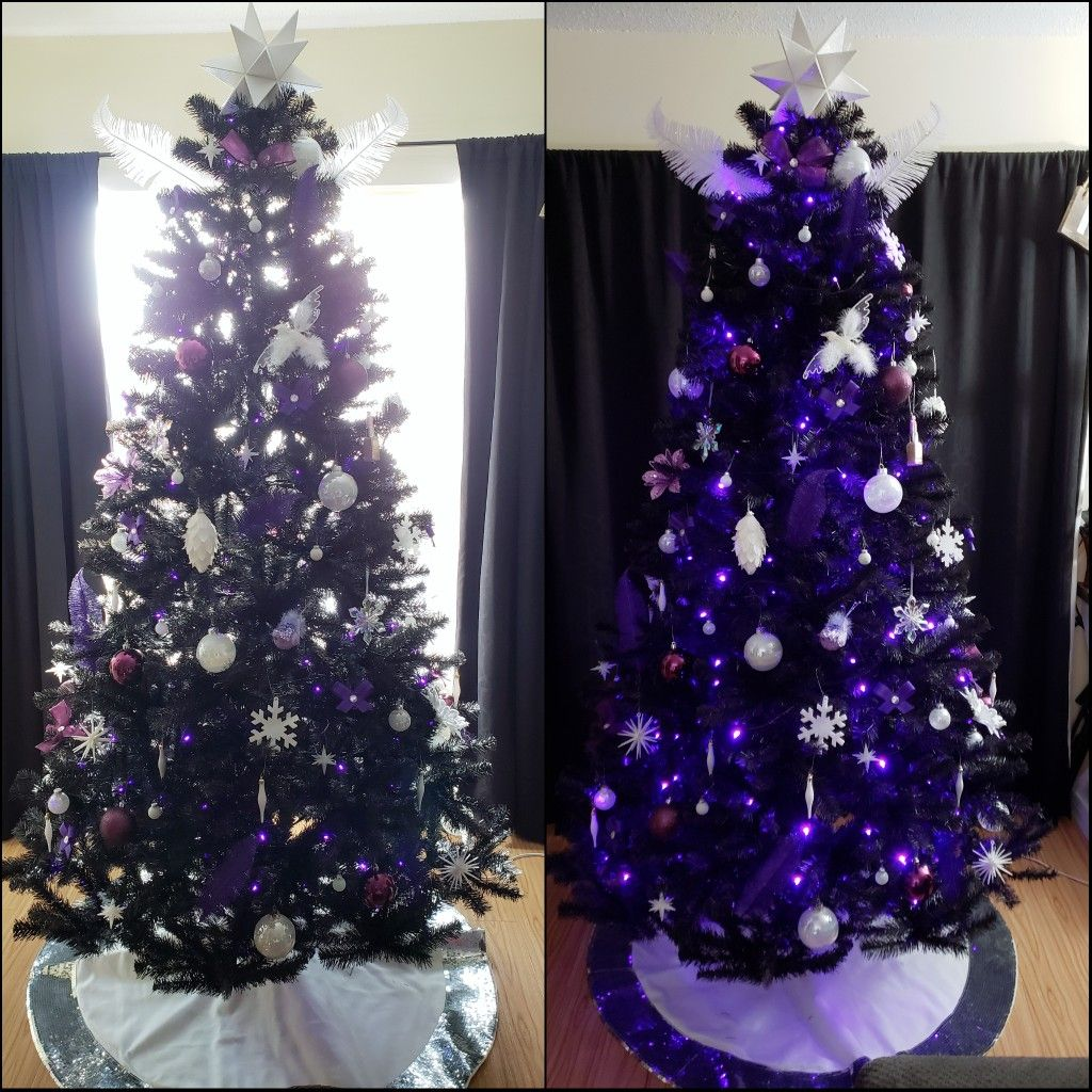 Black Tree With Purple Lights And