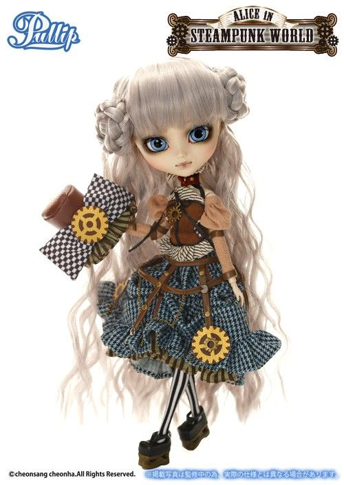 <<< GROOVE STORE limited >>>  Pullip Mad Hatter in STEAMPUNK WORLD will comes with ''EYE BANDAGE (STEAMPUNK Taste)'' / Second Model from Alice in STEAMPUNK WORLD series!!  / Accessories: Hat, Doll Stand Set Contents: Hat, Tops, Skirt, Crinoline, Tights, Shoes /Feeling: Like the gear which turning around..... TEA TIME is not over forever..... Why does the Escritoire resemble a crow?... Feel Like So.