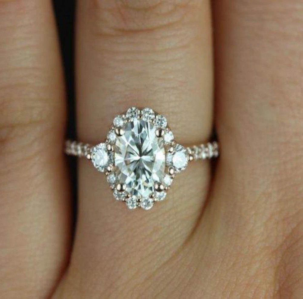 Moissanite Engagement Ring White Gold Heart Cut Engagement Ring