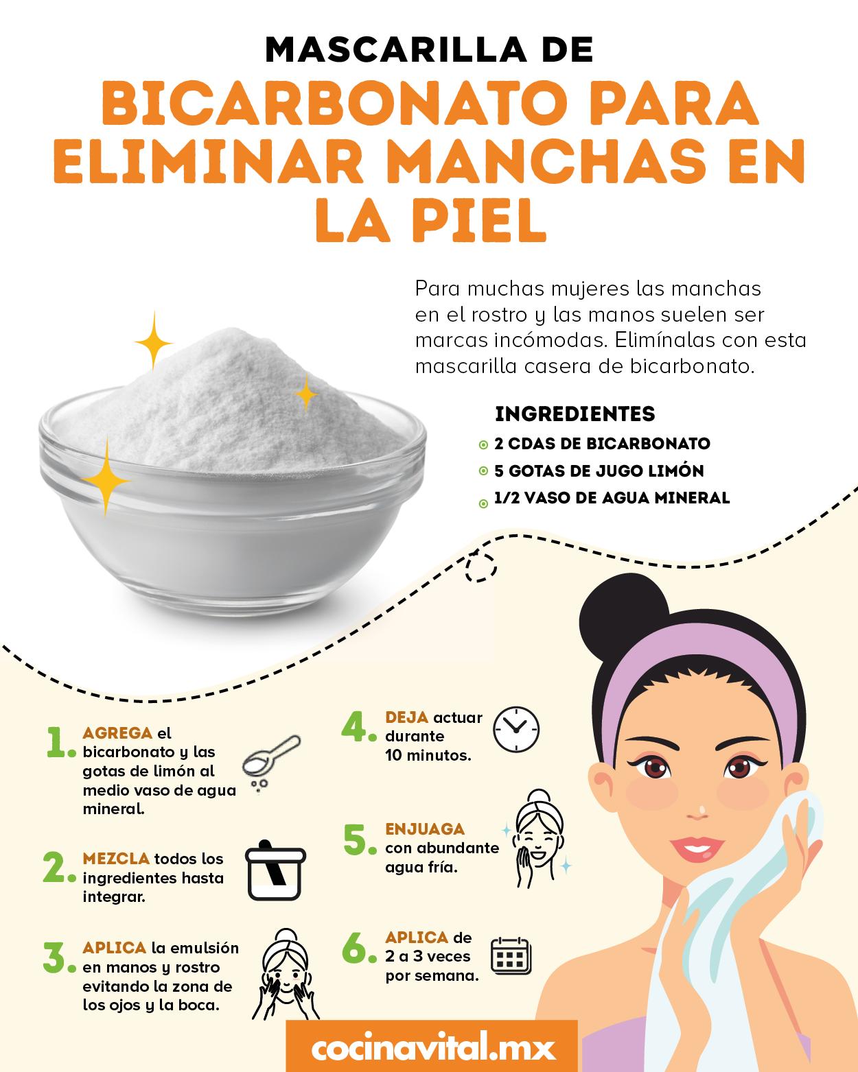 Mascarilla de bicarbonato para eliminar las manchas en la piel