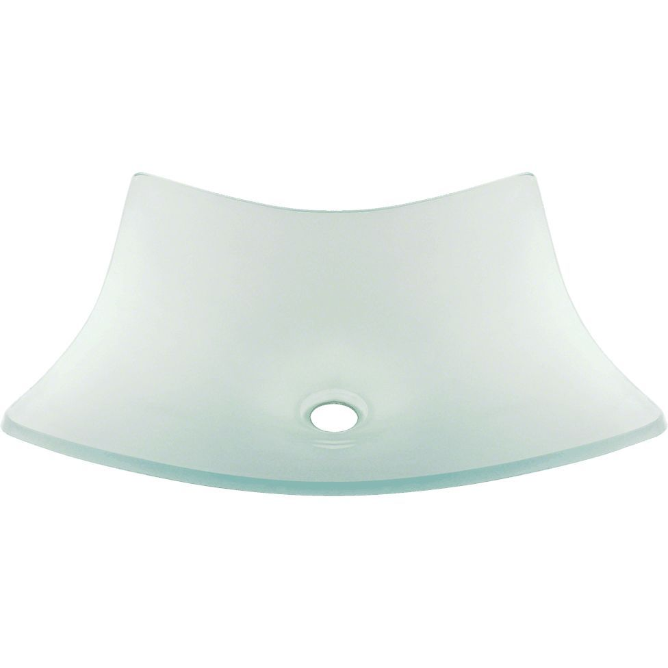 """Polaris 18 1/4"""" Frosted Glass Square Bathroom Vessel Sink - P226"""