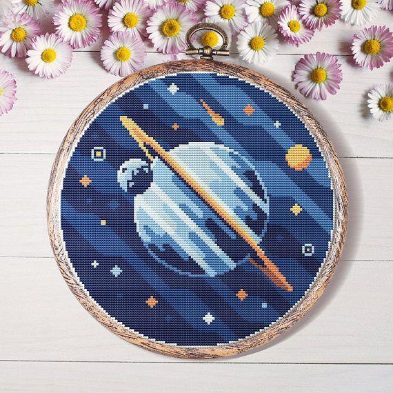Modern cross stitch pattern point de croix space galaxy punto de cruz home decor embroidery hoop art handmade instant download  Home decor