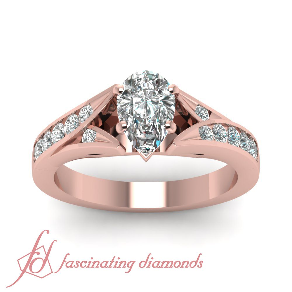 carat pear shape diamond cathedral style rose gold engagement ring