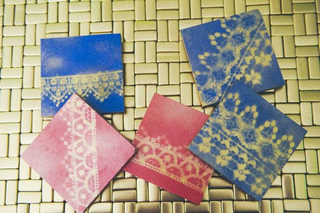 Lace Stenciled Tile Drink Coasters Www.fancypantsweddings