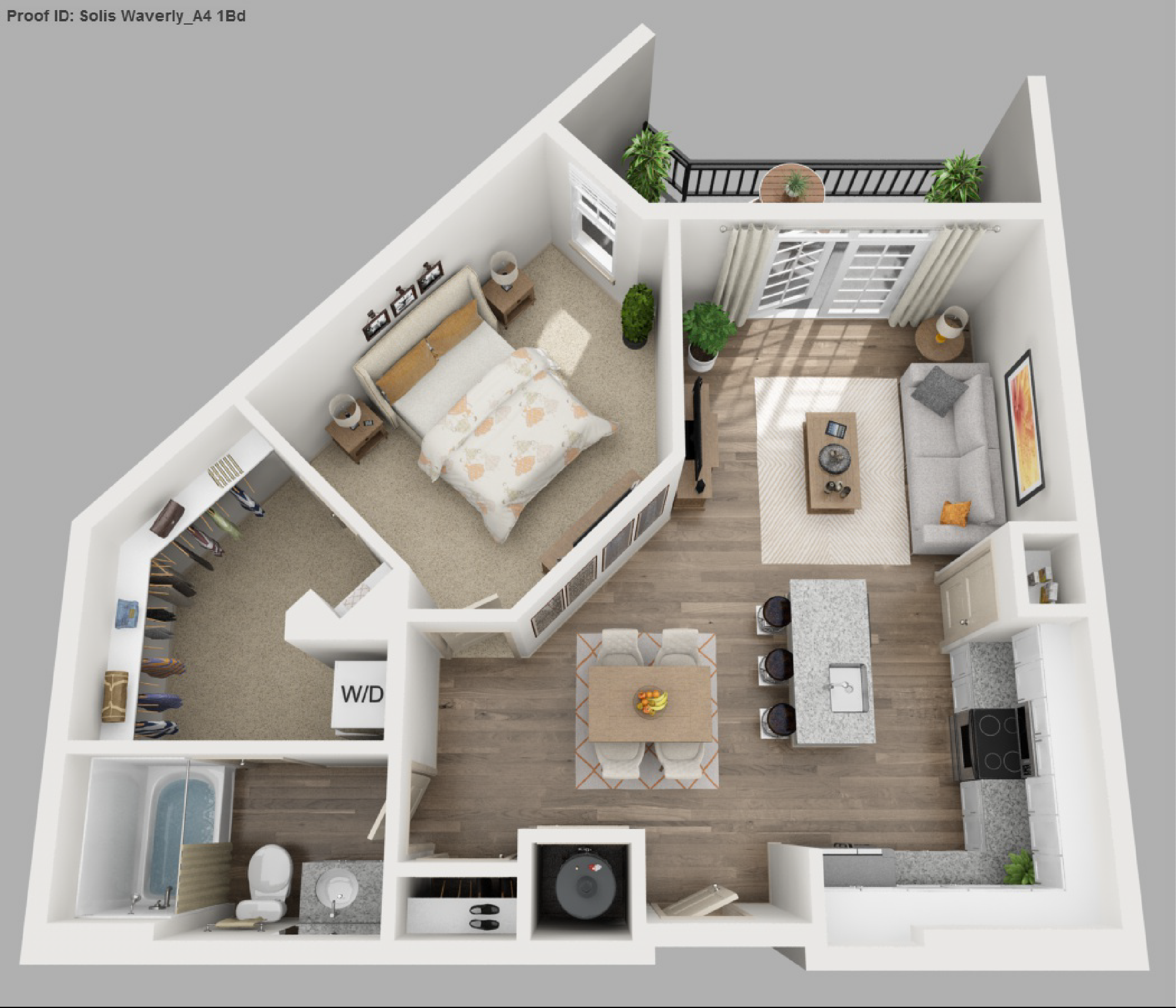 Image result for 3d 1 bedroom floor plans for an apartment for One bedroom apartment floor plans