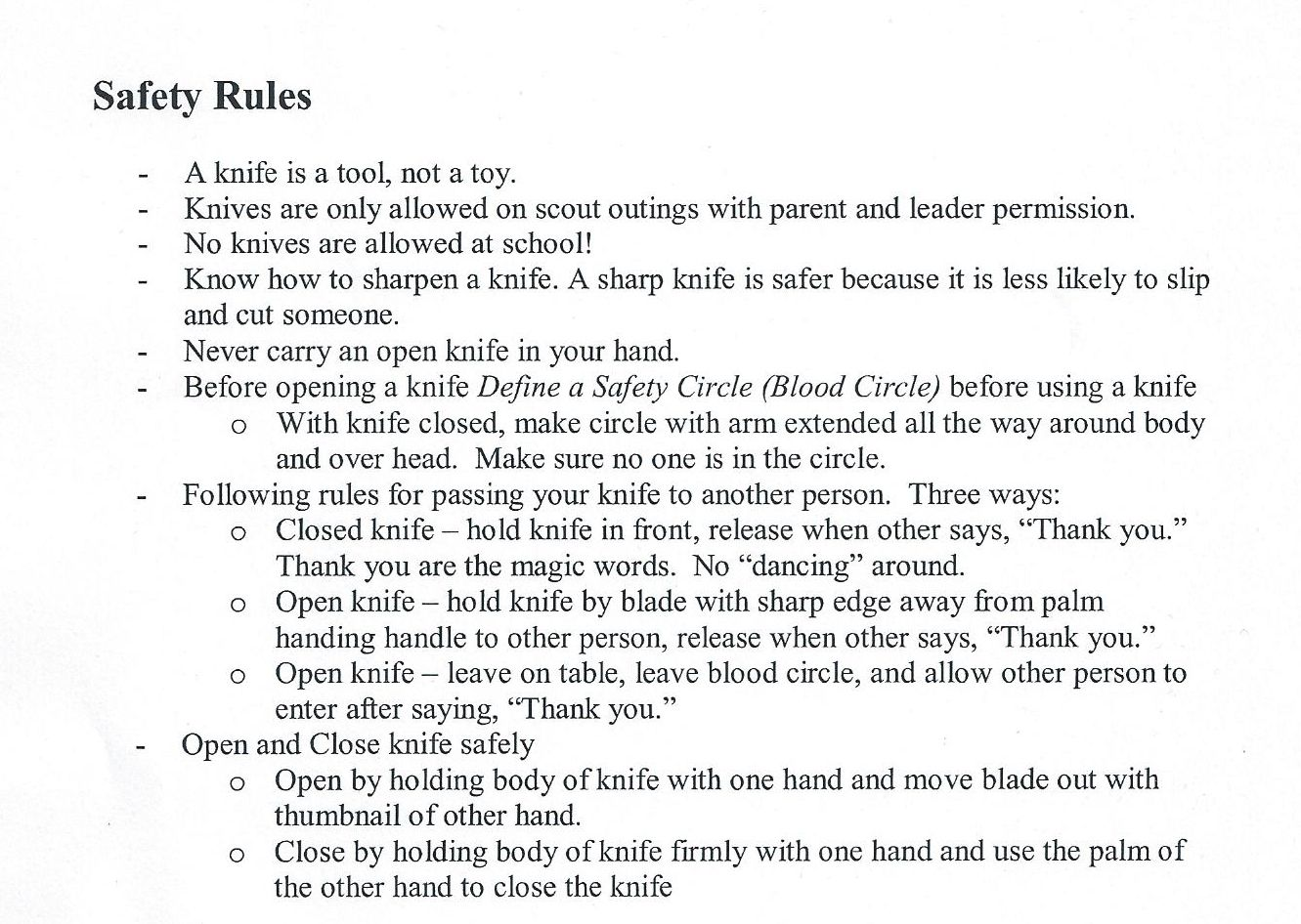 Image Result For Knife Safety Rules