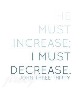 He must increase; I must decrease.