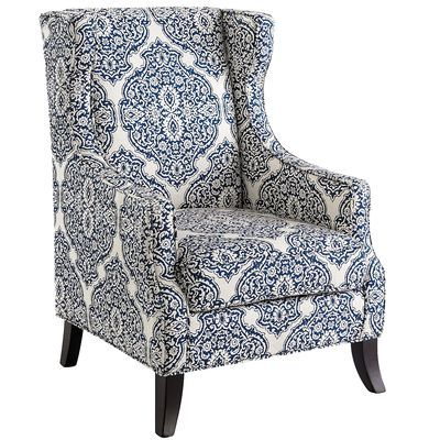 Alec Wing Chair Indigo Blue Accent Chairs Wing Chair