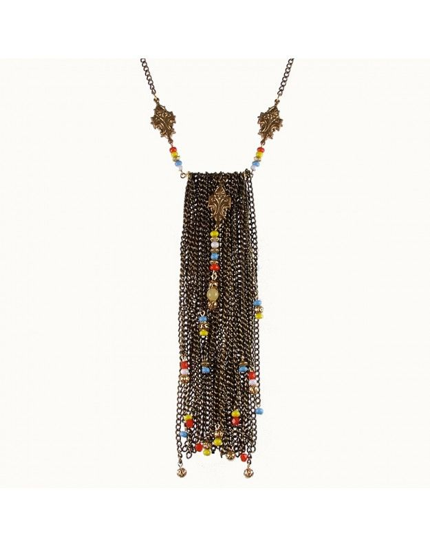 Breeze NecklaceFabulous bib necklace made of vintage chains and components with touches of colored glass and crystal. Colors and beads may vary slightly. Made in USA.  The chain is 18 inches long and entire necklace measures 24 inches.  Done in Bronze or Silver $70.00