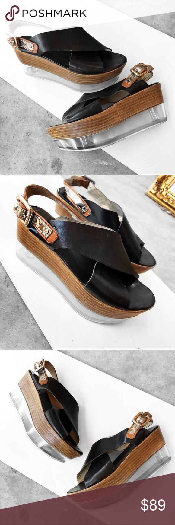 AGL flat form sandals   Black leather flats, Black leather
