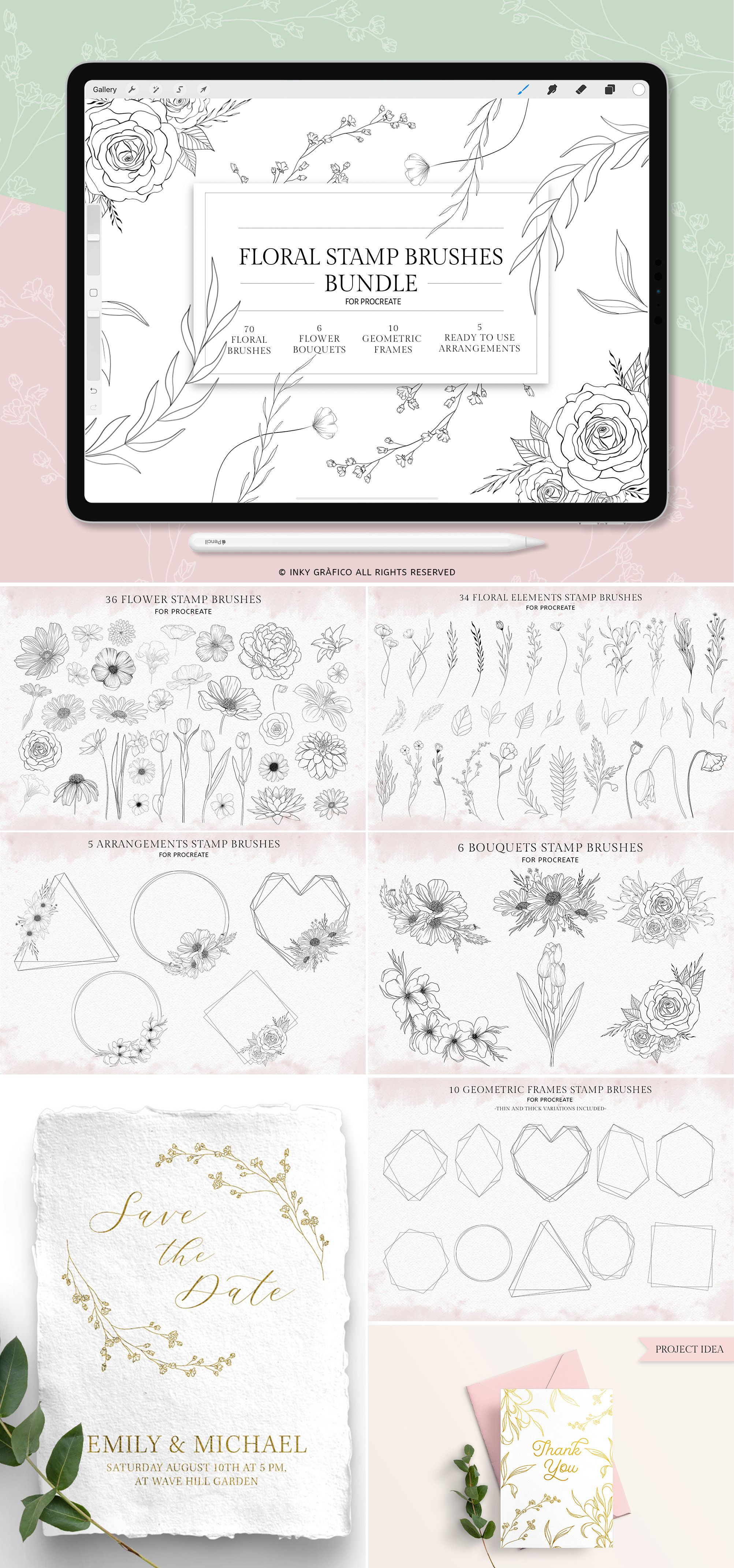 Procreate Flower Stamp Brush Floral Stamps For Procreate Hand Drawn Frames Bouquet Botanical Floral Leaves Brunch Procreate Brushes Flower Stamp Procreate Drawing Frames