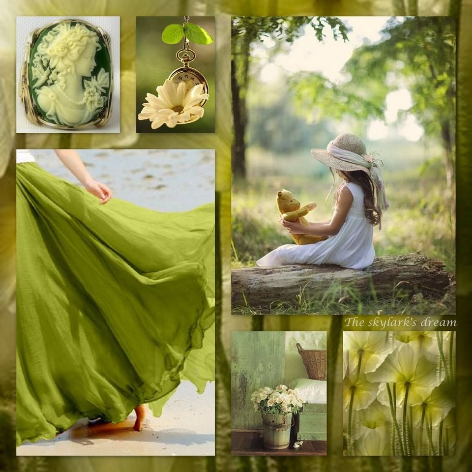 The skylarks dream moodboard color collage beautiful - Olive green and grey ...
