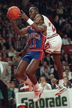 Isiah Thomas (Detroit Pistons) and Michael Jordan