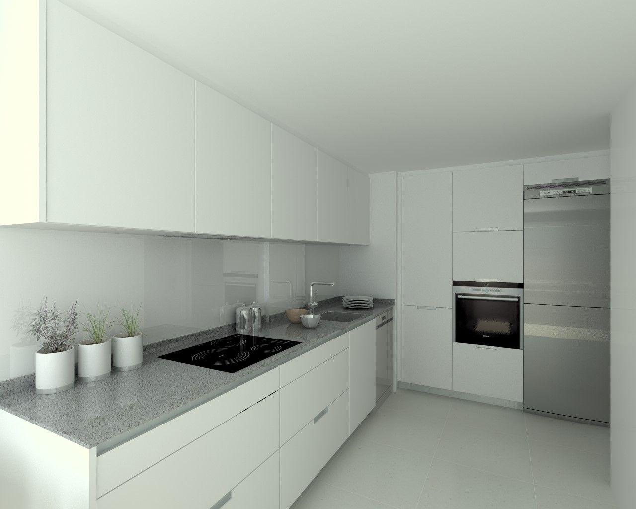 Cocina santos modelo minos estratificado blanco perla encimera compac gris plomo modern - Cocina blanca encimera gris ...