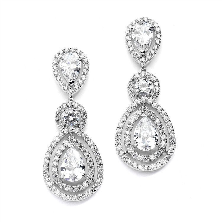 Magnificent CZ Statement Earrings for Weddings and Pageants with Framed Pears