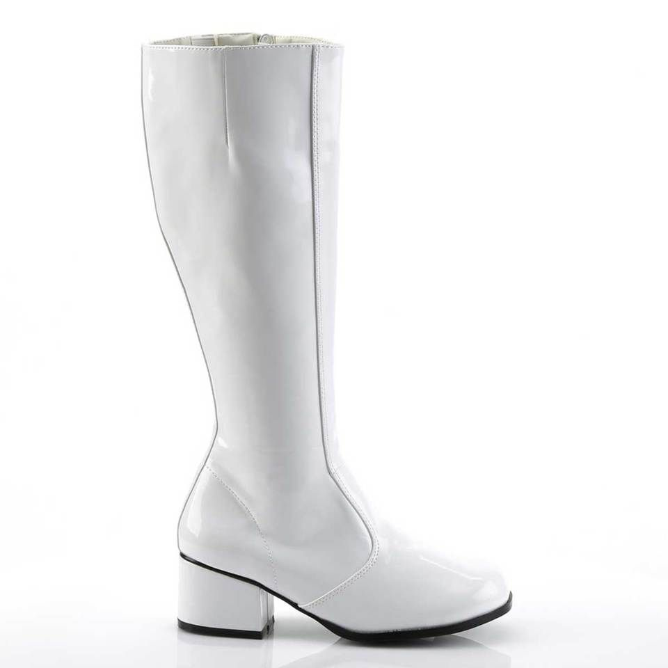 Funtasma 2 inch heel white gogo boots 1960s in 2020