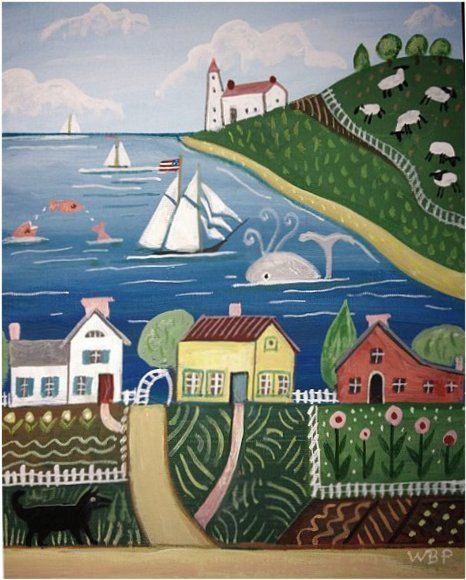 signed Wendy Presseisen Sailboat Sea FOLK ART Primitive Folk Art Print