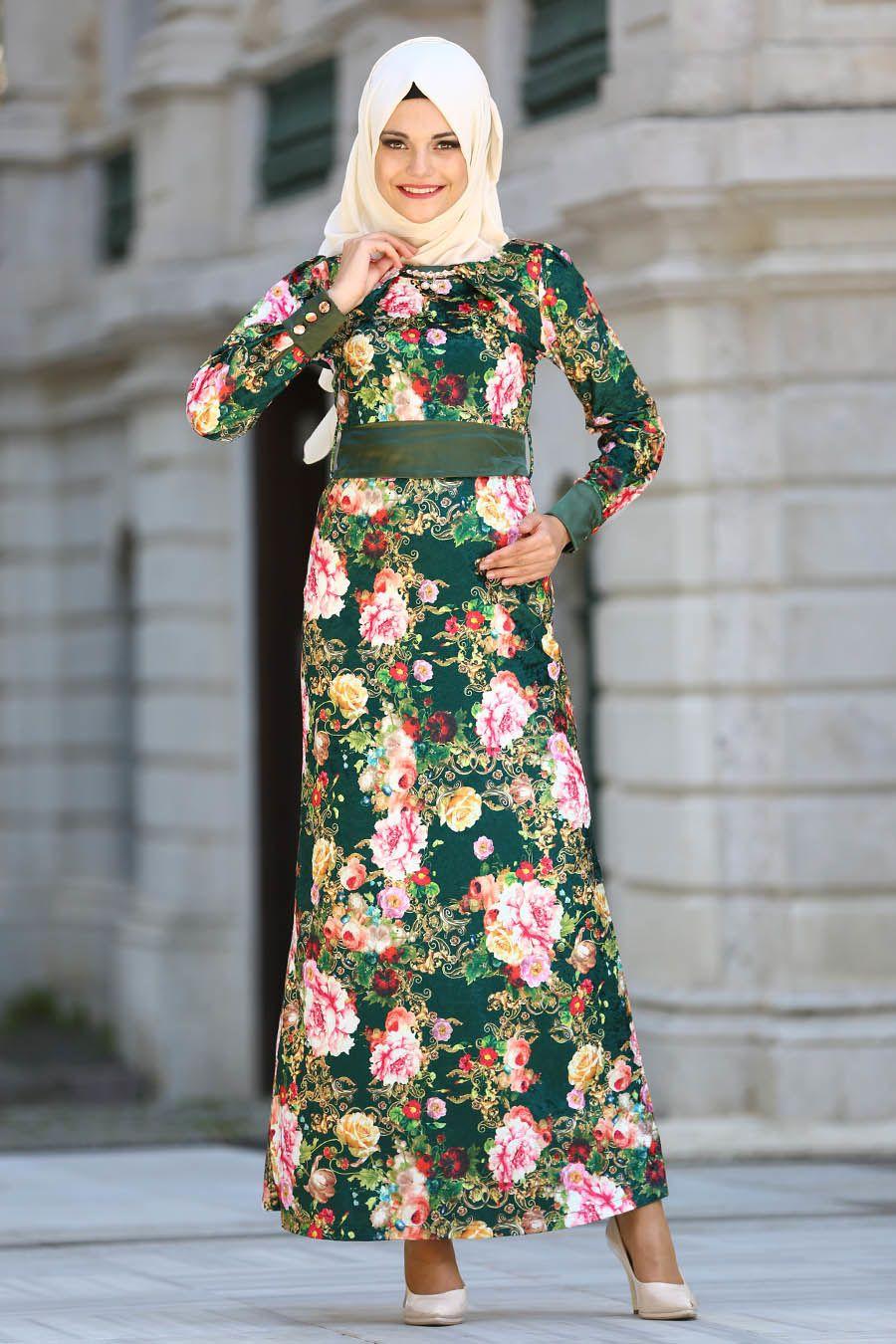 c7de90ac0eea7 Neva Style - Çiçek Desenli Yeşil Kadife Tesettür Elbise 20880Y ...