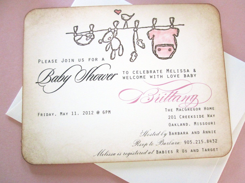 Baby shower invitation as seen on disney baby onesie clothesline