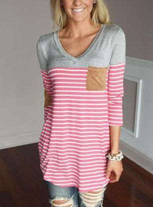 Women's Casual Striped Top - Elbow Patches