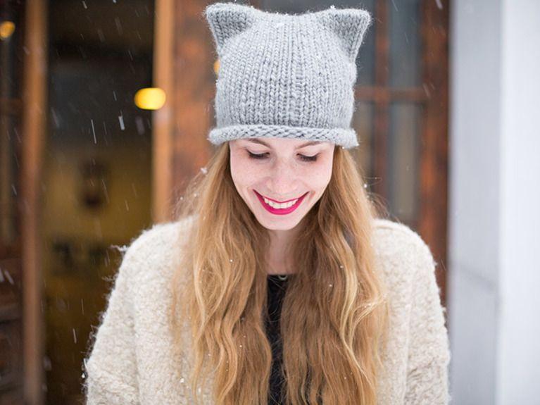 Diy Anleitung Super Einfache Mütze Mit Katzenöhrchen Aus Dicker