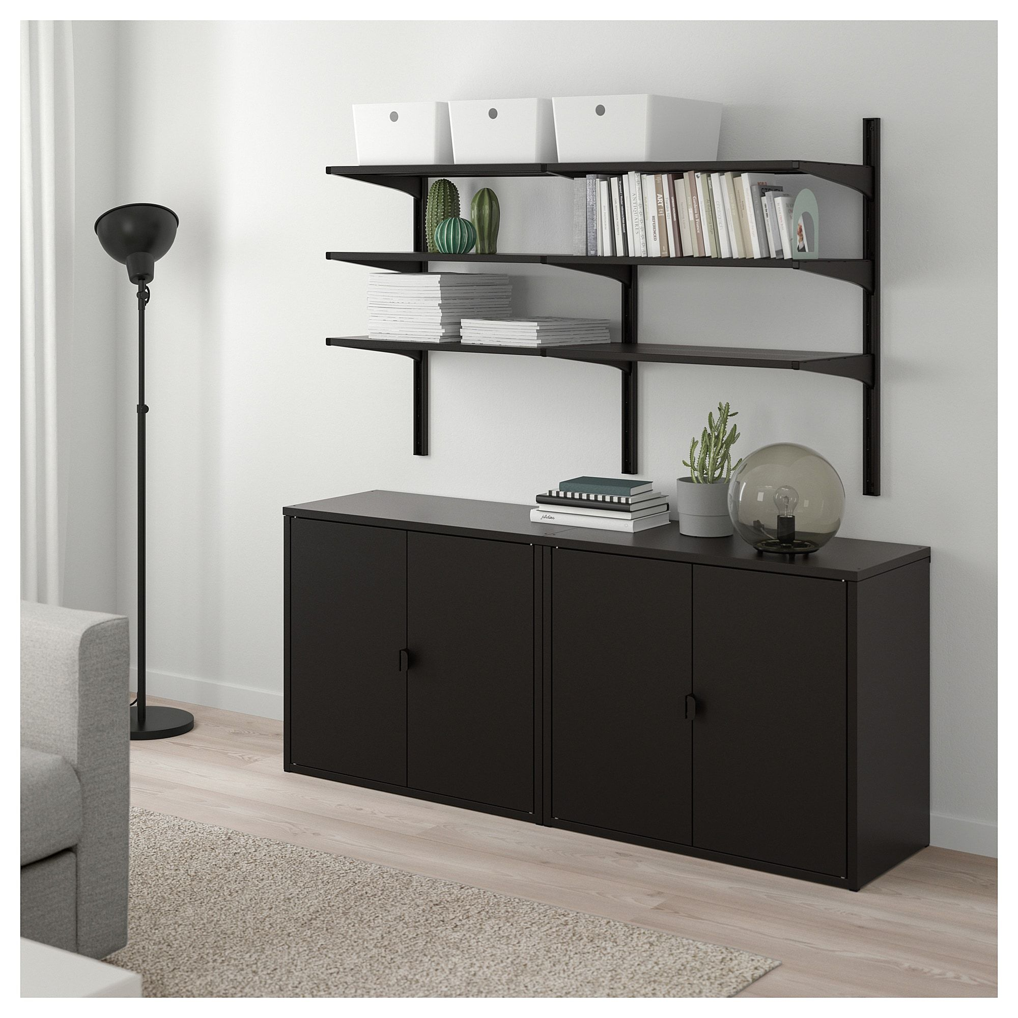 Ikea Glasregal Schwarz Algot Bror Regal Mit Schrank Schwarz In 2019 Products Ikea