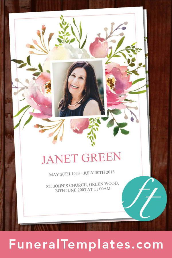 4 Page Floral Burst Funeral Program Template Funeral Templates