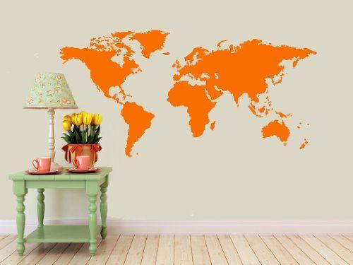 Detailed World Map Wall Decal Orange  Matte Measures 22 H