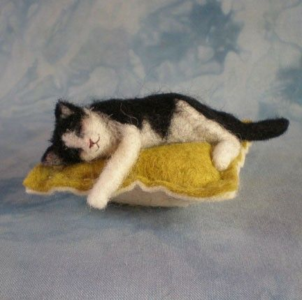 PINCUSHION with NEEDLEFELTED SLEEPING KITTY by BayColonyDesigns, $22.00