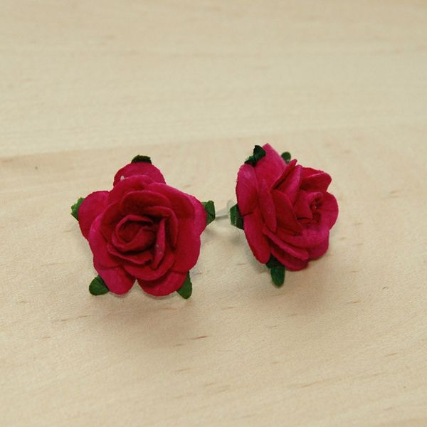 Lovely Romantic Cherry Red Rose Flower Ear Studs From Carftworklover By Dawanda Com Flower Ear Etsy Earrings Studs Red Rose Flower