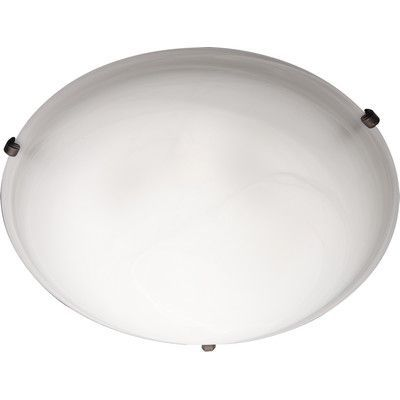 "Andover Mills Barrett 2 Light Flush Mount Finish / Shade Color: Marble/Oil Rubbed Bronze, Size: 4"" H x 13"" W"