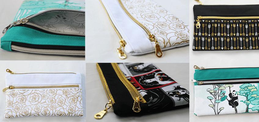 Double Zipper Pouch Tutorial   Bags   Pinterest