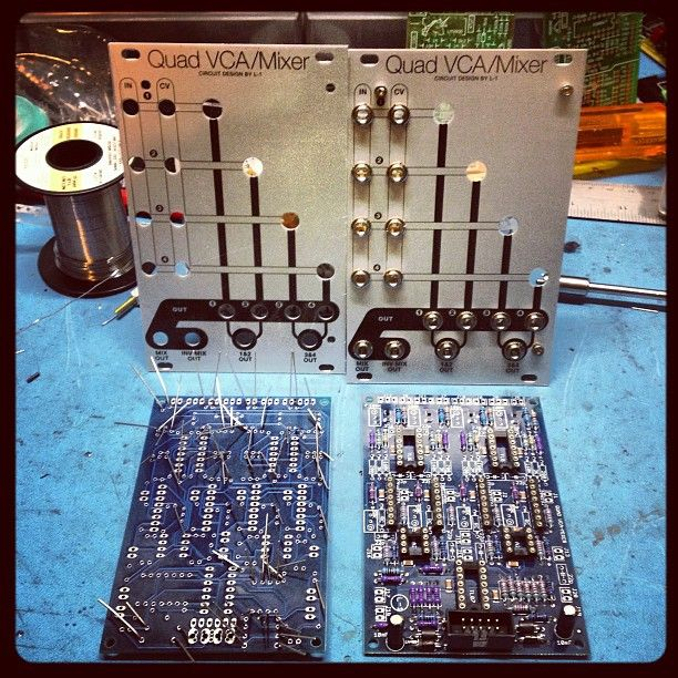 A pair of L-1 Quad VCAs being built by Lowgain. One of my favorite panel designs despite the obvious nod to the Buchla 292. I hope to have my own done soon!