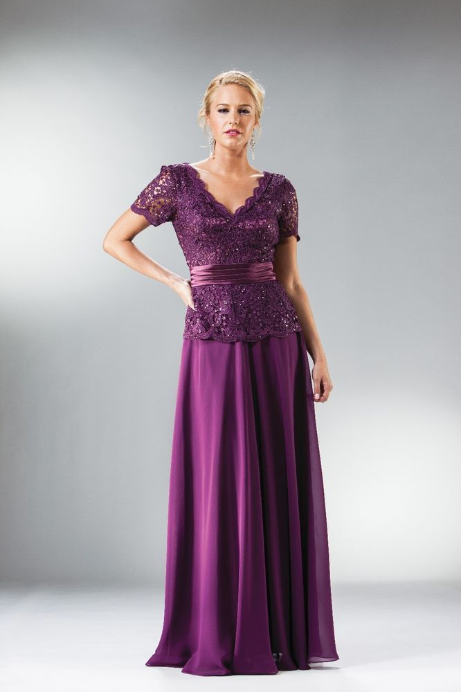 New Purple Color Mother of The Bride Dress Short Sleeve Formal Gown ...