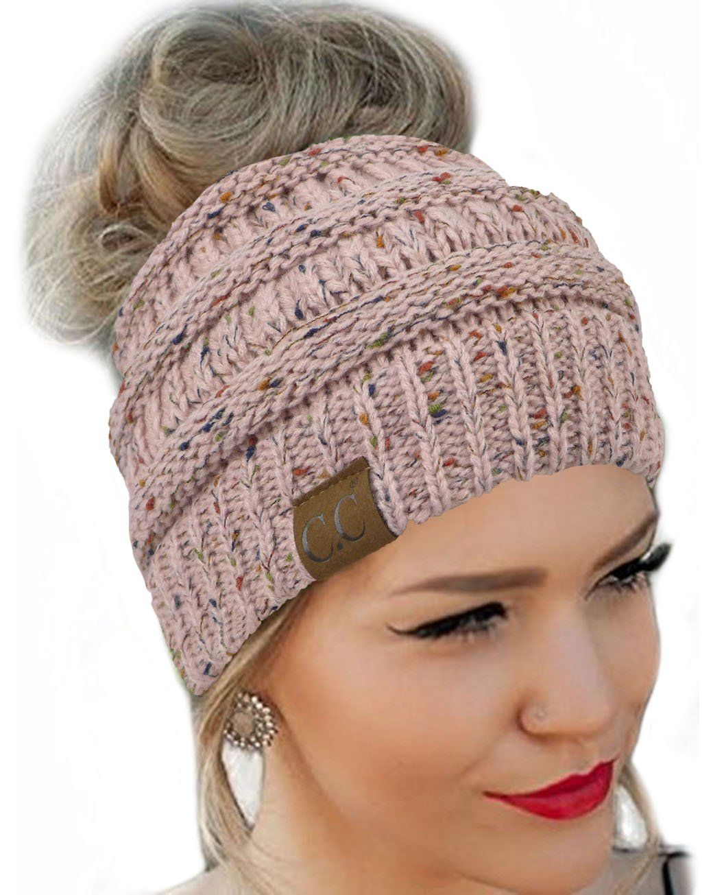 a6f3187ad82be Messy Bun Hat Beanie CC Quality Knit (Pink Flecked) at Amazon Women s  Clothing store